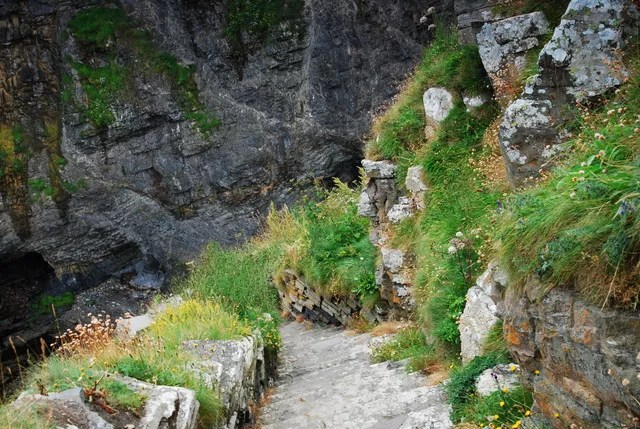 Steep steps down to the sea at Whaligoe