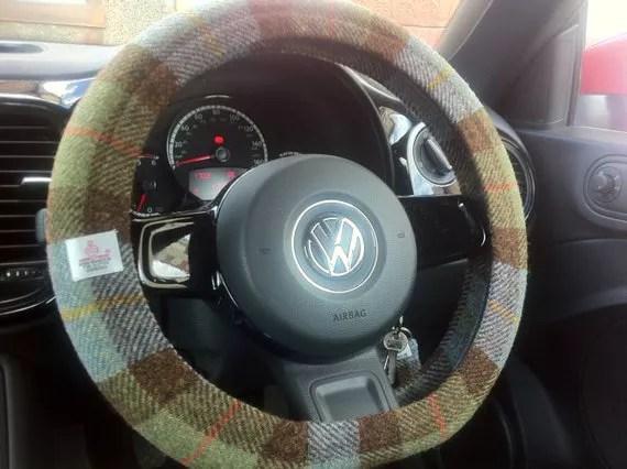 Brown and green Harris Tweed steering wheel cover