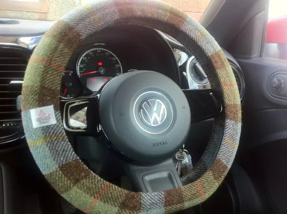 Brown and green Harris Tweed steering wheel cover