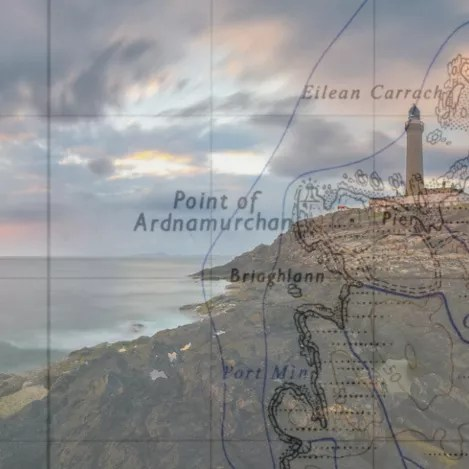 Map of Ardnamurchan, Scotland with a lighthouse in the background