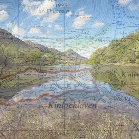 Loch Leven overlayed with a map of Kinlochleven