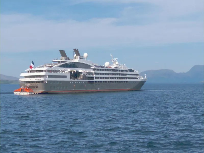 Cruise ship in the waters off the Isle of Skye