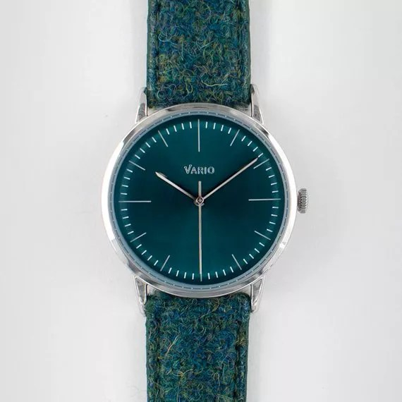 Plain green Harris Tweed watch