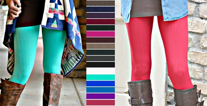 Cable Textured: Fleece Lined Leggings!