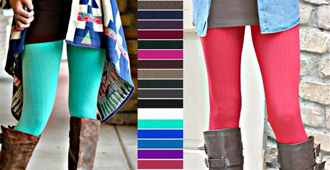 Cable Textured: Fleece Lined Leggings | Curvy Added!