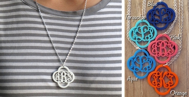 Acrylic Monogram Necklace Pendant with chain