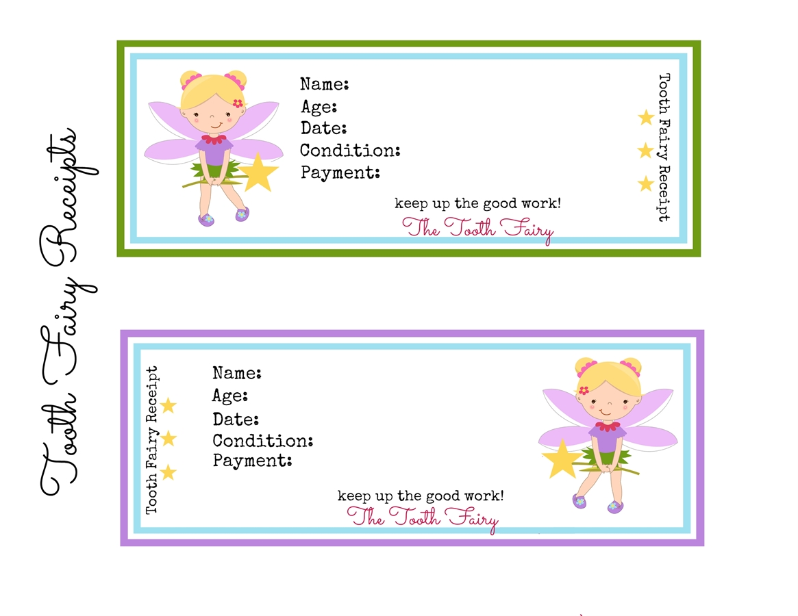 Printable Tooth Fairy Receipts