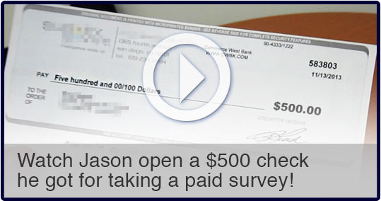 Opening the $500 check for taking surveys. Take Surveys For Cash