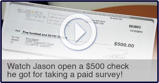 Opening the $500 check for taking surveys. Take Surveys For Cash