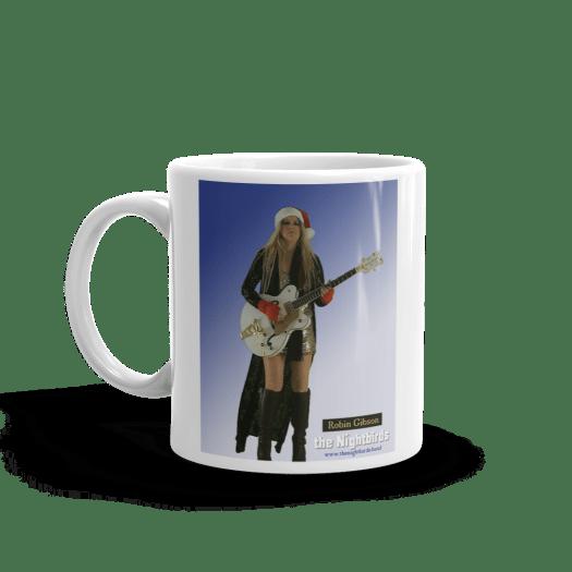White Ceramic Christmas Mug Nightbirds Christmas Mug featuring Robin Gibson