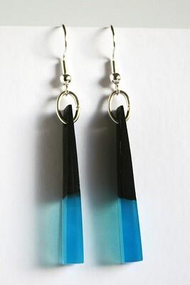 Newbridge Bog Oak Collection: X-Small Aqua Blue Earrings