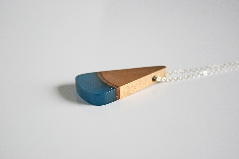 Carlow Plum Wood Collection: Small Aqua Blue pendant