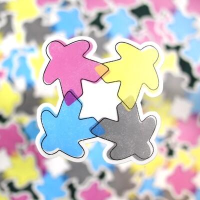 CMYK Meeple Sticker