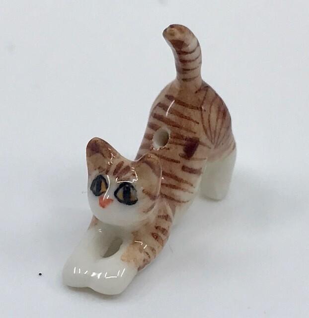 Stretching Tiny Porcelain Cat