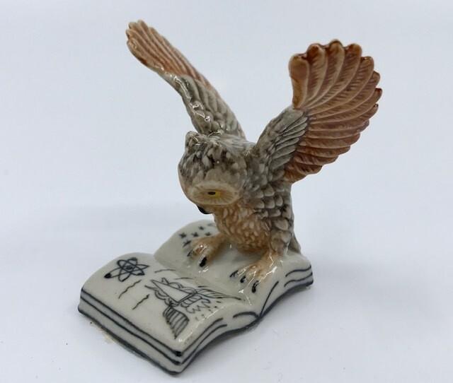 Book Owl Miniature Porcelain