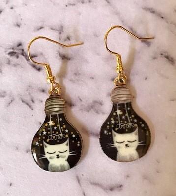 Kitty Lightbulb Drop Earrings