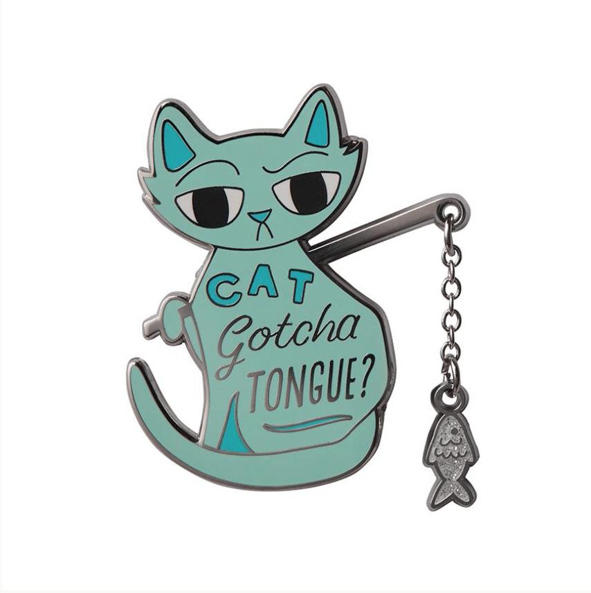 Cat Got Your Tongue Enamel Pin by Erstwilder
