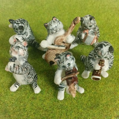 Cat Band Ceramic Miniatures