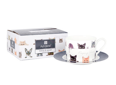 Peeping Felines Cat Cup and Saucer by Ashdene