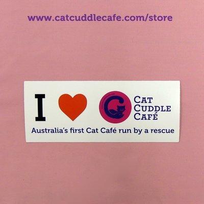 I Love the Cat Cuddle Cafe Bumper Sticker for Rescue