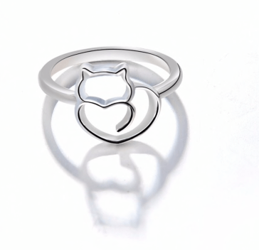 Kitty Love Heart Silver Ring