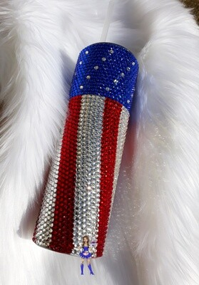 Patriotic Tumbler 30oz with Straw Red White Blue Rhinestone tumbler flag tumbler