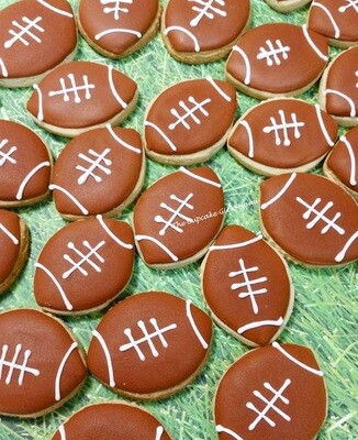 Mini Football Decorated Sugar Cookie 2 Dozen