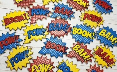 POW BAM BOOM Decorated Sugar Cookie 1 Dozen Hero Cookie