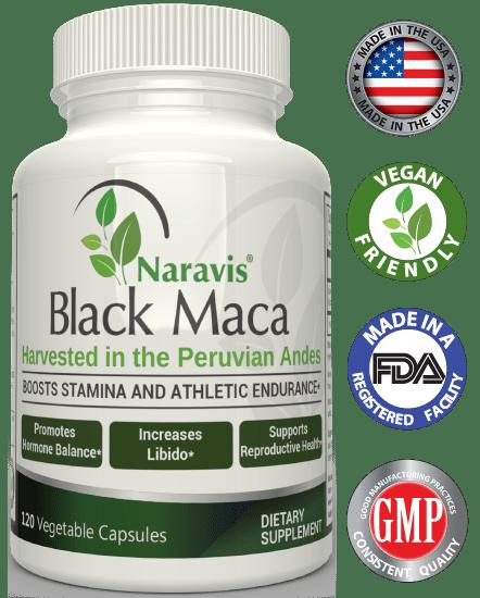 Naravis Gelatinized Black Maca Root - 500mg - 120 Veggie Capsules