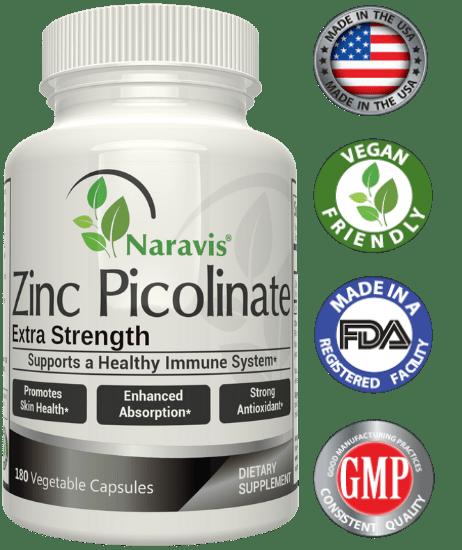 Naravis Zinc Picolinate - 100mg - 180 Veggie Capsules
