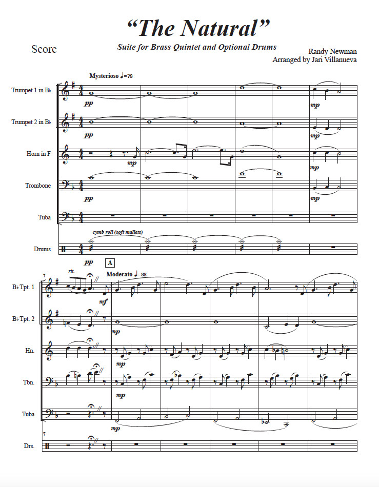 The Natural Suite for Brass Quintet and optional drums