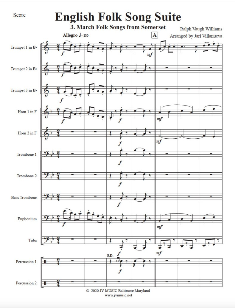 English Folk Song Suite for Brass Ensemble MOVEMENT 3