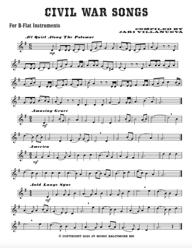 Civil War Songs for B-flat Instruments