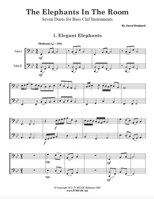 The Elephants in the Room 7 Duets for Bass Clef Instruments