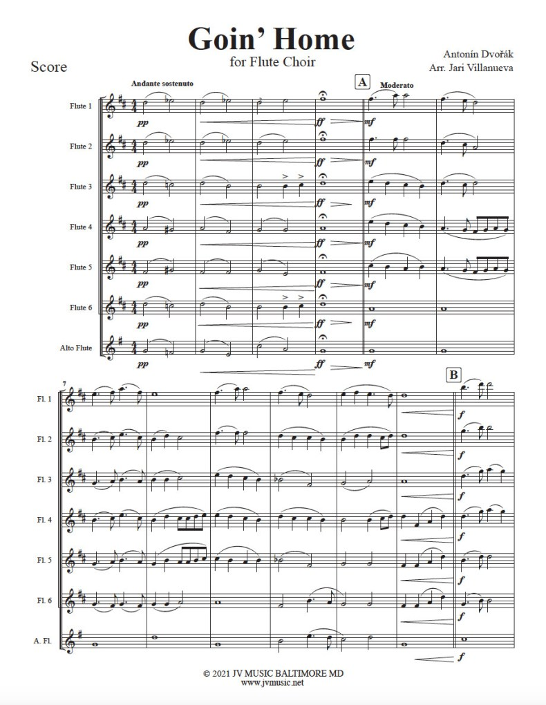 Goin' Home (GoingHome) for Flute Choir Arranged by Jari Villanueva