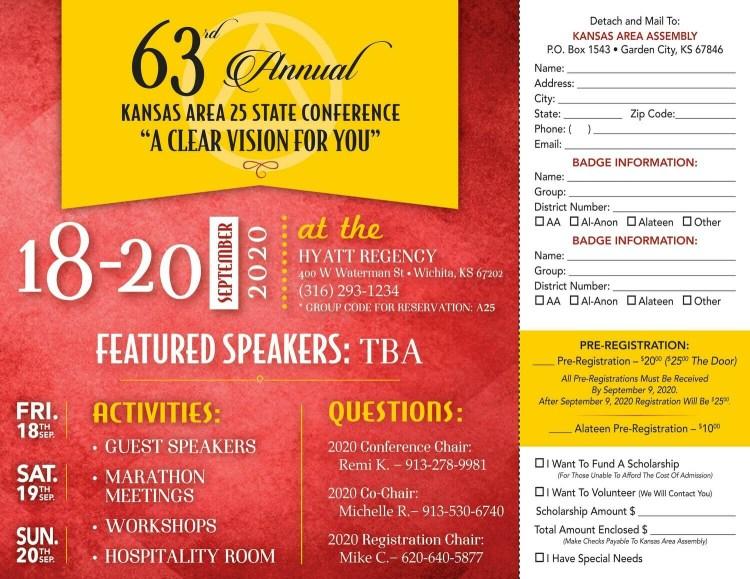 2020 Area 25 Kansas State Conference Pre-Registration