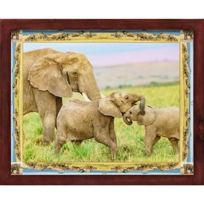 Elephants with Collage Border -- Jeff Lane