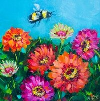Blooming Zinnias Garden And The Daily Visitor -- Rohini Mathur