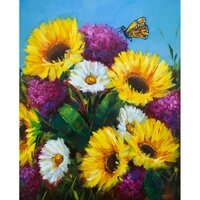Sunkissed Sunshine Sunflowers And The Curious Butterfly -- Rohini Mathur