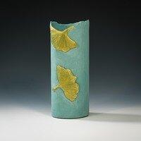 Vase with 2 Gingko leaves -- Hilda Bordianu