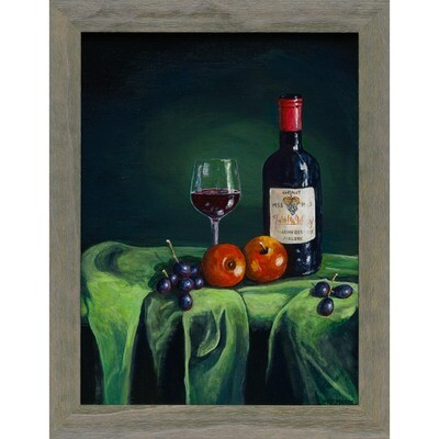 Wine and Two Apples on Green Tablecloth -- Malcolm Moses