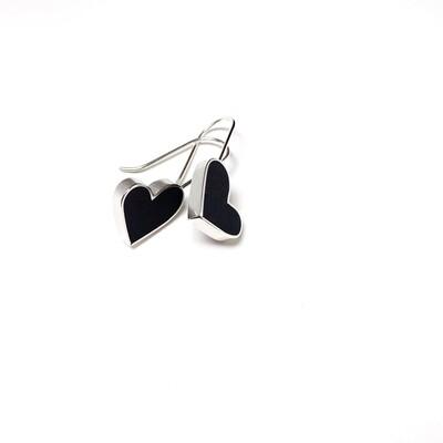 Hearts Earrings Black -- Jennifer Graves