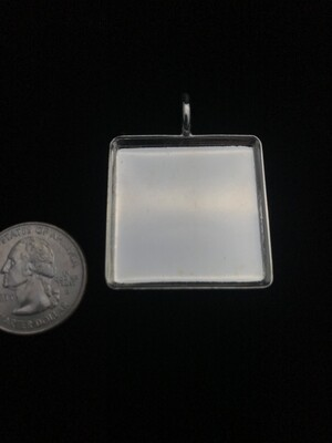 Silver Plated Square Amate Bezel Pendant