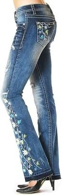 Grace in LA Boot Cut Floral Jeans