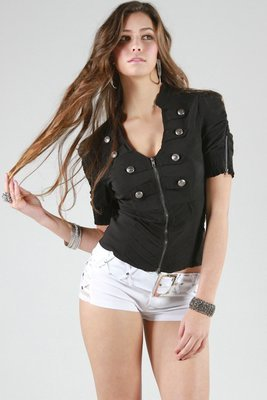 Military Half Sleeve Top Black