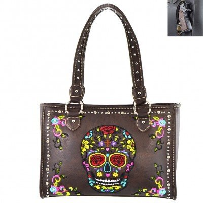 Montana West Sugar Skull Bag Concealed Carry - Coffee