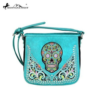 Montana West Sugar Skull Crossbody - Turquoise