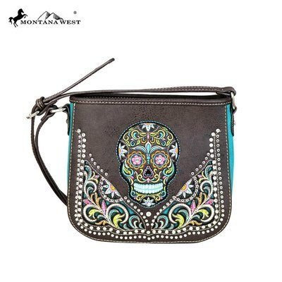 Montana West Sugar Skull Crossbody - Coffee