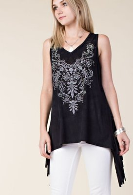 V-neck with Side Fringe Tunic