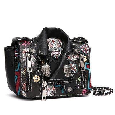 Sugar Skull Biker Jacket Crossbody Handbag